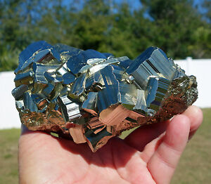 Large Gold PYRITE Cube Cluster Peruvian Crystal Point from Peru Huge Cubes