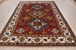 Indo Kazak Rug, 8'x10', Red/Ivory, All wool pile