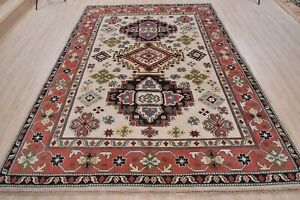Indo Kazak Rug, 8'x10', Ivory/Coral, All wool pile