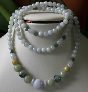 100% Natural JADE (Grade A) Untreated Multi-Color Jadeite Handmade Necklace 27