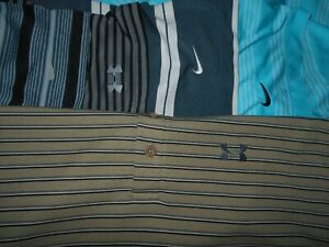 Lot 5 Nike Dri-Fit Fit-Dry Under Armour Mens Polo Shirts L Large 2 NWOT