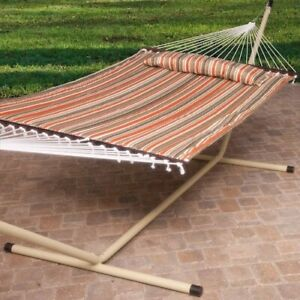 Hammock with Stand Garden Camping Patio Taupe Steel Frame Stripe Portable Bed