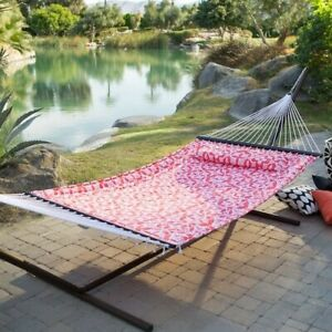 Hammock with Stand Patio Garden Camping Bronze Steel Frame Pink Portable Bed New