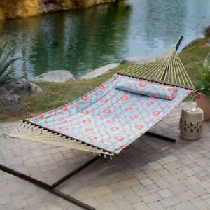 Hammock with Stand Patio Garden Camping Yard Steel Frame Blue Pink Portable Bed