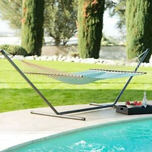 Hammock with Stand Patio Garden Camping Yard Black Steel Frame Blue Portable Bed