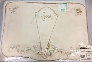 Vintage Embroidered Placements amp; Napkins 4 of Each Ivory New in Plastic