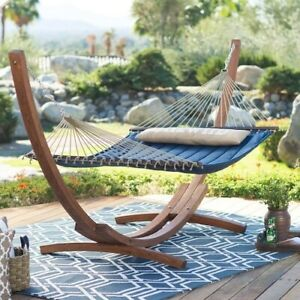 Hammock with Stand Patio Garden Deck Pool Camping Wood Frame Blue Portable Bed
