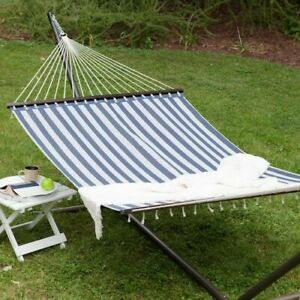 Hammock with Stand Patio Garden Camping Black Steel Frame Stripe Portable Bed