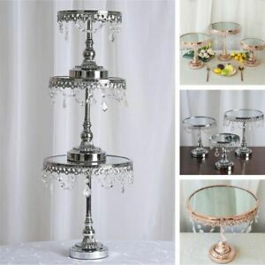 Set of 3 Round Centerpieces Cake Stands with Crystal Chains Wedding Decor