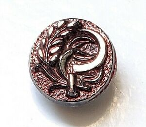 Antique Button…Wheat & Scythe...Black Glass with Red & Silver Lusters