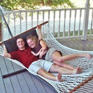 Hammock with Stand Patio Garden Camping Taupe Steel Frame Double Portable Bed