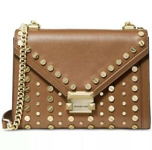 New Michael Kors Whitney Studded Leather AcornGold Shoulder Bag
