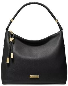❤️ Michael Kors Lexington Leather  BlackGold Shoulder Bag