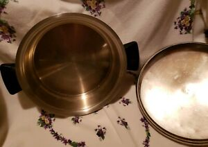 """Rena Ware 8"""" Skillet Pan Covered Dome Lid Cookware 3-Ply 18-8 Stainless Steel"""