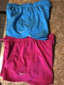 X2 Youth Girls Nike Dri fit Running Shorts Large Size Blue Pink Spandex Liner $22.99