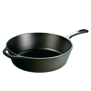 Lodge Cast Iron Deep Skillet 12 in. Portable Durable Fry Pan Cooking Camp