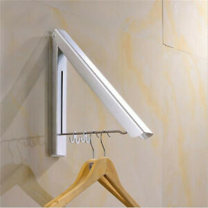Stainless Folding Wall Hanger Mount Retractable Clothes Indoor Towel Hanger  US