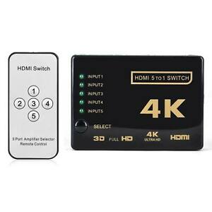 UHD 5 Port HDMI Switch Splitter Selector Hub 4K 3D 1080P With IR Remote Control