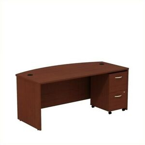Series C 72W Bow Front Desk with File Cabinet in Mahogany - Engineered Wood
