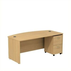 Series C 72W Bow Front Desk with File Cabinet in Light Oak - Engineered Wood