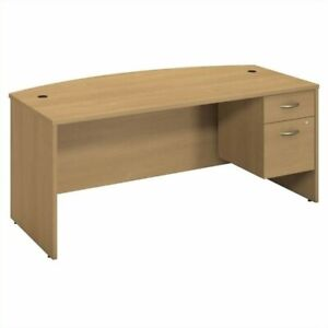 Series C Collection 72W Bow Front Desk with Pedestal in Light Oak