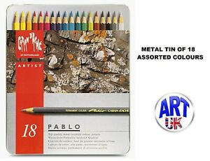 Caran d'Ache PABLO artist quality Coloured Drawing pencil SET - Metal Tin of 18