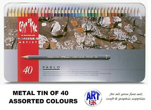 Caran d'Ache PABLO artist quality Coloured Drawing pencil SET - Metal Tin of 40