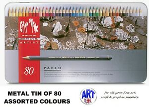 Caran d'Ache PABLO artist quality Coloured Drawing pencil SET - Metal Tin of 80
