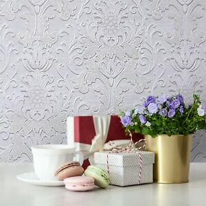 Paper Wallpaper cream off white Victorian vintage damask textured double roll 3D