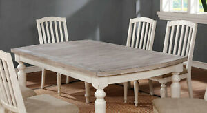 Beautiful Plank Style Table Top Wood Dining Table Set 7 Pc Fabric Upholstery