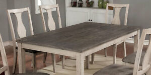 7 Pc Fabric Upholstery Beautiful Two Toned Design Chairs Wood Dining Table Set