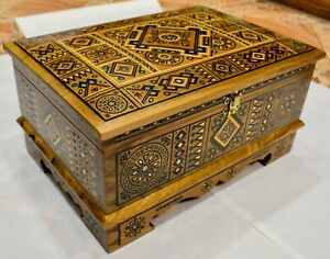 Wooden Hutsul chest Hand-carved and inlaid with beads and metal Unique design