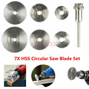 7X HSS Circular Saw Blade Set For Drill Dremel Rotary Tool Cutting Wheel Discs