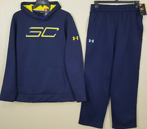 UNDER ARMOUR SC STEPH CURRY SUIT HOODIE + PANTS NAVY BLUE NEW (SIZE XL  LARGE)