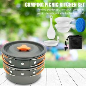 Outdoor Camping Portable Pot Cookware Cook Set Hiking Travel Picnic Tableware