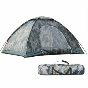 Outdoor Camouflage 3 4 Person Waterproof Shelter Hiking Camping Folding Tent USA