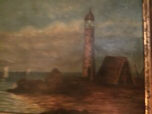 LIGHTHOUSE OIL PAINTING 11X13 inches $195.00