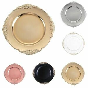 13-Inch Round Charger Plates with Decorative Embossed Rim Party Wedding Sale