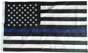 Thin Blue Line American Flag 3x5 ft US Black amp; White Police Policemen Support