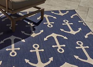 Nautical Tropical Outdoor Patio Rug Standard Navy Anchor Ultra-Strong Cabled 5x7