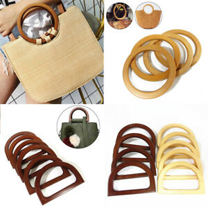 Round Wooden Bag Handle for Handcrafted Handbag Totes DIY Bags Accessories Parts