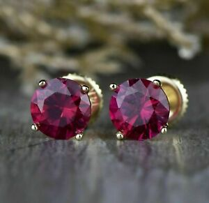 1.25Ct Round Red Ruby 14k Yellow Gold Over Solitaire Women#x27;s Stud Earrings