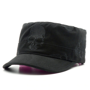 High Quality Men Vintage Flat Top Caps Embroidery Skull Military Hats Luxury