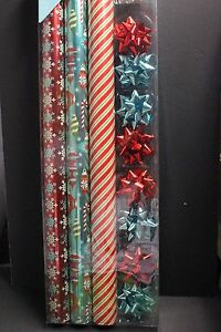 3 Roll Wrap 8 Bow 8 Gift Tag Variety Pack Holiday Christmas Wrapping Gift Paper3