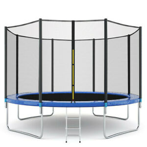 Round Trampoline with Enclosure Net W Spring Pad Ladder Combo Bounce Jump Safe
