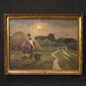 Painting landscape oil on canvas romantic framework signed dated antique style