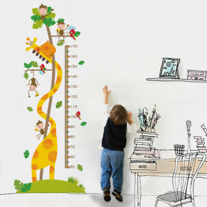 Cute Giraffe Wall Sticker Height Chart Measure Decal Kids Room Decor Removable