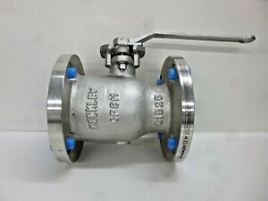 New KECKLEY 316 Stainless Steel Flanged x Flanged Ball Valve Locking Lever 3