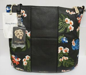 Brand New* Tommy Bahama Cozumel Tropical Floral Black Leather Crossbody Clutch