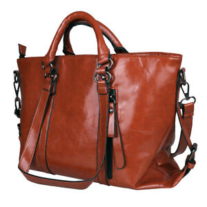 Women#x27;s Oiled Leather Handbag Lady Briefcase Tote Purse Shoulder Messenger Bag